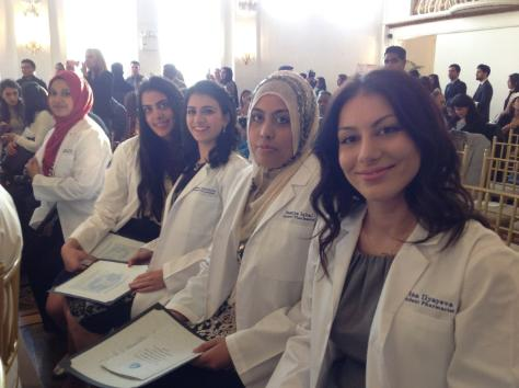 Rachel Jakubov, fourth from right, was inspired to pursue pharmacy after