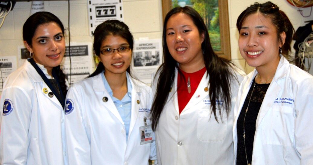 Touro College of Pharmacy students participating in Operation Immunization (L-R): Rachel Jakobov, Tinnie Liao-Ng Yan, Christine Nguyen, and Angela Pantanawong