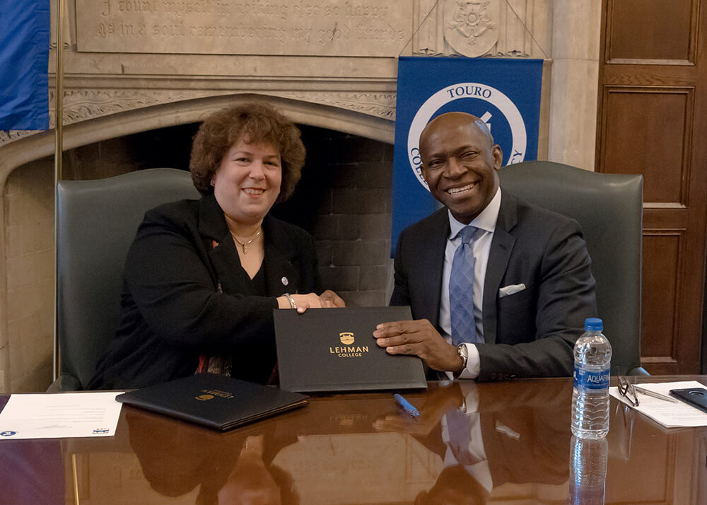 Touro College Provost of Graduate and Professional Divisions Patricia Salkin and Lehman College Provost Peter Nwosu